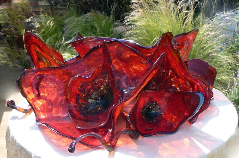Poppy Flower Glass Art