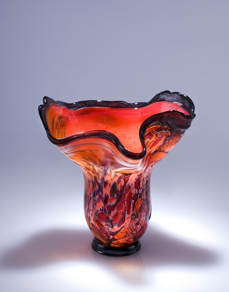 Scarlet Glass Art Garden Vessel